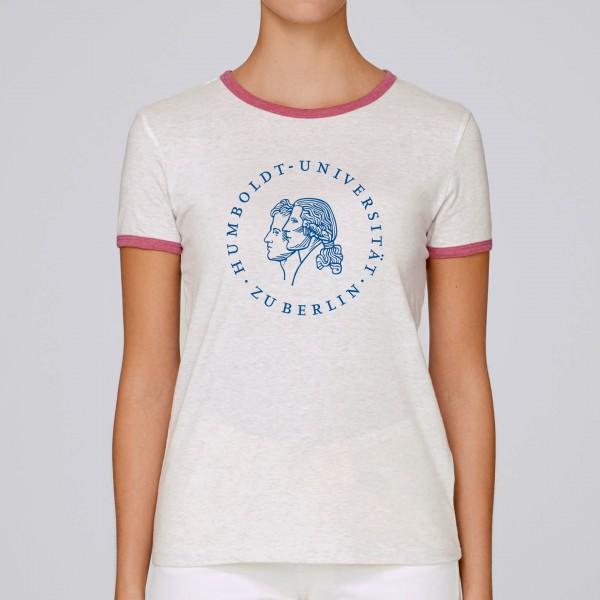 Damen-T-Shirt Siegel heather grey cranberry