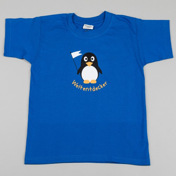 Kinder-T-Shirt Weltentdecker-Pinguin royalblau