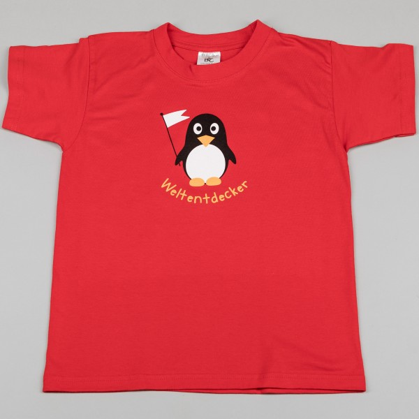 Kinder-T-Shirt Weltentdecker-Pinguin rot