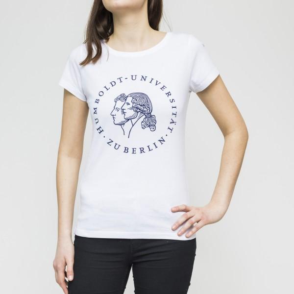 Damen-T-Shirt Siegel mit blauem Druck