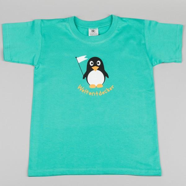 Kinder-T-Shirt Weltentdecker-Pinguin grün